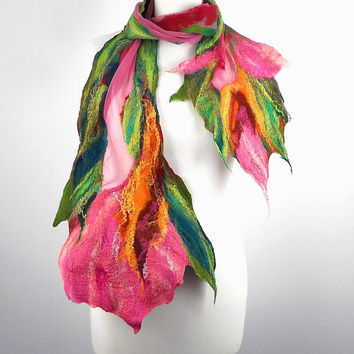 Felted Scarf Nunofelt Scarf Light Wrap Felt Scarves Flower Nuno felt Silk rose olive Eco shawl Boho Fiber Art