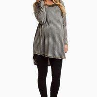 Grey-Striped-Faux-Suede-Neckline-Top