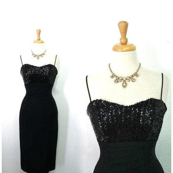 1950s Dress Black Sequin Crepe Sweetheart Jay Herbert Spaghetti straps Cocktail dress