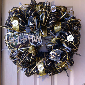 Deluxe Deco Mesh New Orleans SAINTS Wreath