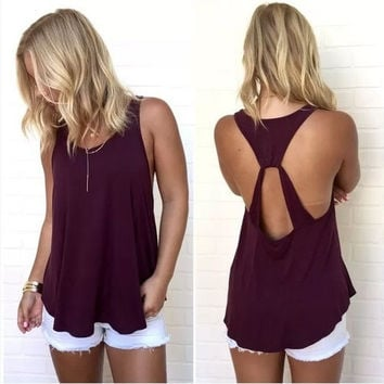 Women's New Summer Fashion Sexy Backless Off Shoulder Tank Top = 5738164161