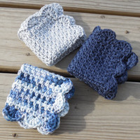 Crochet Dishcloth or Washcloth Gray Navy Blue and Blue Ombre 100% Cotton Clothes Eco-friendly Set of 3