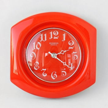 Vintage Ceramic Wall Clock / Bright-Orange DUGENA Clock by KIENZLE Germany / Hot Lava Clock - 70s