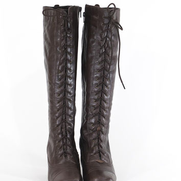 Knee High Brown Leather Laceup Boots Tall Victorian Boots Size 9