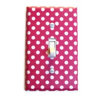 Pink & White Polka Dot Single Toggle Switch Plate, wall decor