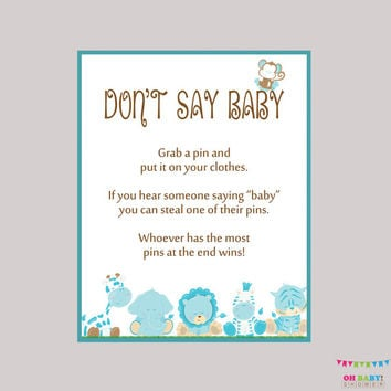 Boy Safari Don't Say Baby Blue Shower Game - Printable Safari Don't Say Baby Sign Diaper Pin Clothes Pin Game - Instant Download - BS0001-B
