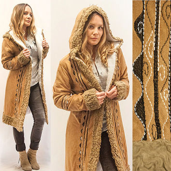 70s Long Embroidered Coat - Tan Camel Trench Coat | Womens size XS Small Boho Hippie Fur Knee-Length Jacket | Hooded Alpaca Ethnic Duster