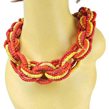 Bold Braided Necklace Chunky Woven Intertwined Circles of Orange cee8f7bd23