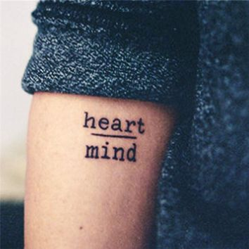 Tattoo Sticker Waterproof Temporary  Heart Mind Letters Design Water