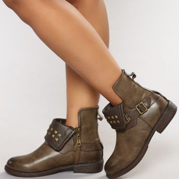 Williamson Moto Stud Bootie - Brown