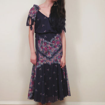 Vintage 1970s Navy Blue Floral Print Dress / 70s Gauzy Summer Dress / Small