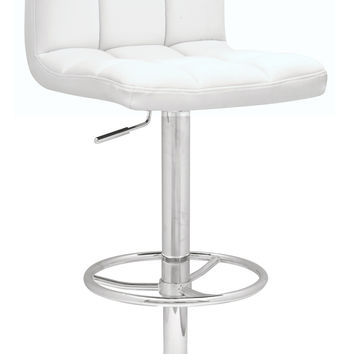 White Pneumatic Gas Lift Adjustable Height Swivel Stool
