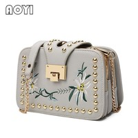 AOYI Fashion Ladies Embroidered Handbags Ladies Small Squares Bag Ladies Famous Brand Designer Shoulder Bag Girl Clip Clutch