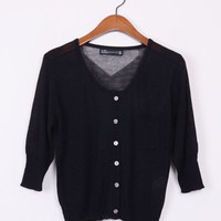 C32 Celebrity Style  Crop Tops Cardigan with Pocket   Short Sweater Coat Jumper Knitwear   Free Shipping