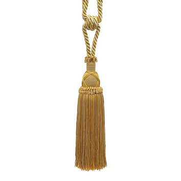 Beautiful Antique gold Curtain & Drapery Tassel Tieback / 10 inch tassel, 30 1/2 inch Spread (embrace), 3/8 inch Cord, Imperial II Collection Style# TBIC-1 Color: RUSTIC GOLD - 4975
