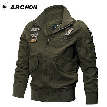 S.ARCHON US Army Air Force Military Jacket Men Autumn Winter Tactical Pilot Bomber Jacket Male Casual Cotton Cargo Coat Jackets