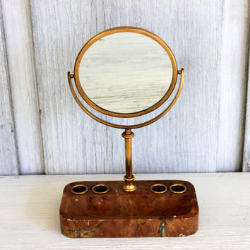 vintage marble vanity mirror // made in italy // brass mirror // bath accessory // vanity tray