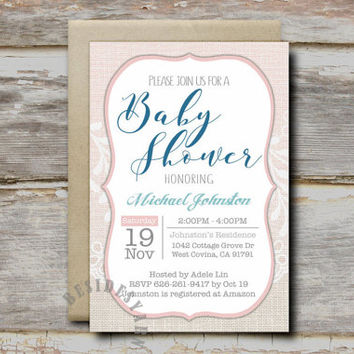 Burlap and Lace Diaper Raffle Sign Tickets Printable with Blush Pink Accent, Baby Shower Party Games, Diaper Raffle Card Instant Download