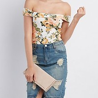 FLORAL PRINT OFF-THE-SHOULDER BODYSUIT