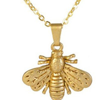 """Jewelry Handcrafted In USA - Antique Matte Gold Finish Bumble Bee Pendant Necklace 18"""" Charm 0.75"""""""