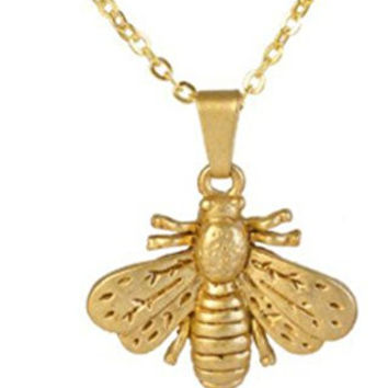 "Matte Gold Finish Bee Pendant Necklace 18"" Museum Style Jewelry With History Card"
