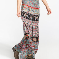 Angie Elephant Print Womens Wide Leg Pants Multi  In Sizes