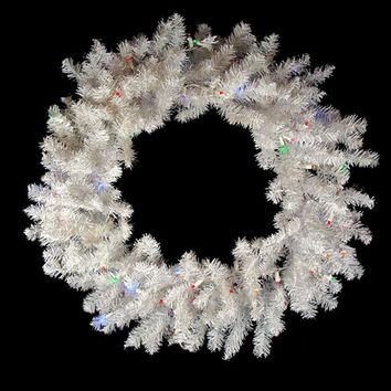 "36"" Battery Operated Pre-Lit LED Snow White Christmas Wreath - Multi Lights"