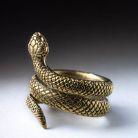 Snake Ring, Brass, Adjustable Size, Handmade