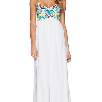 Pia Pauro Embroidered Halter Maxi Dress in White