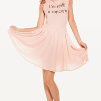 I'M REALLY A UNICORN 90'S BABY DOLL DRESS at Wildfox Couture in  POODLE PINK, -CLEAN WHITE