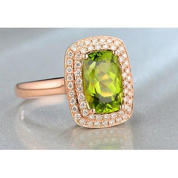 An Australian 14K Rose Gold Natural 3.27CT Cushion Cut Green Peridot Natural Diamond Halo Ring