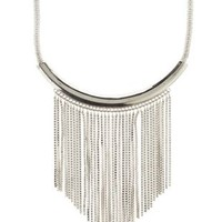 Silver Chain Fringe Collar Necklace by Charlotte Russe