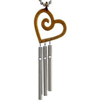 Heart Musical Wind Chime Necklace Made in USA