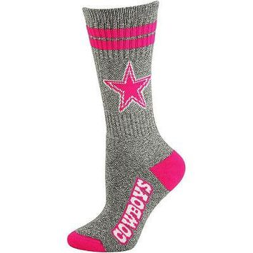 DALLAS COWBOYS MARBLE GRAY PINK SOCKS WOMEN'S SIZE MEDIUM FOR BARE FEET