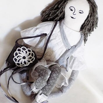 Handmade doll, cloth rag doll, boho girl, white, gray, art doll, unique, large, boho decor, textile poupée, boho cloth doll, gift for girls