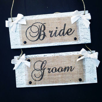 Burlap and Distressed Barn Wood Wedding Chair Signs, Photo Prop, Bride and Groom, Mr. and Mrs., Rustic Country Wedding Decor