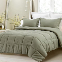 3pc Reversible Solid/ Emboss Striped Comforter Set- Oversized-Sage