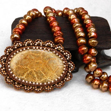 Cinnamon and Vanilla unique bead embroidered pendant necklace with fossilized coral gemstone