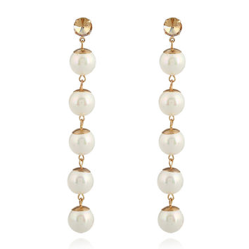 Pearl Statement Earrings Gold