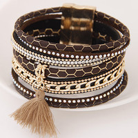Multilayer PU Leather Bracelets for Women Men Jewelry 2016 Magnetic Tassel Pulseira Feminina Fashion Cuff Bracelets & Bangles