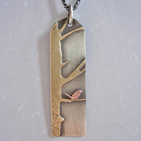 Silver Brass Copper Bird Out on a Limb Pendant