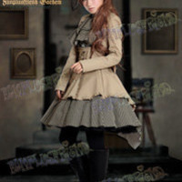 """""""Time Traveler"""" Steampunk Lolita Coattail Double-Layer Skirt*2color Instant Shipping"""