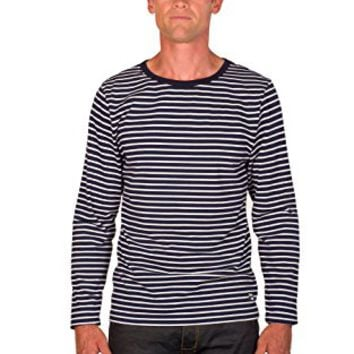Ugholin Men's Breton Stripe Cotton Printed Long Sleeve T-shirt Navy Blue: Amazon.ca: Clothing & Accessories