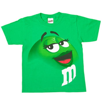 M&M's Candy Character Face T-Shirt - Youth - Green - Medium