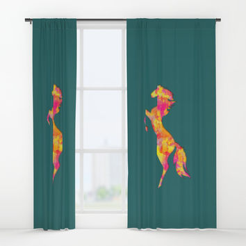 Fire Horse Silhouette Window Curtains by edrawings38