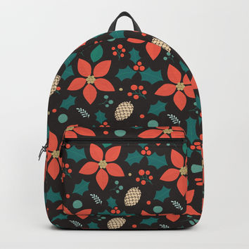 Deck the Halls (Black Background) Backpack by lalainelim