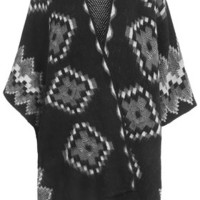 Knitted Aztec Cape - Monochrome