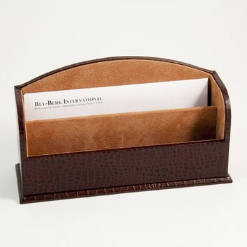 "Letter Rack, Brown ""Croco"" Leather"
