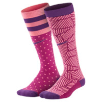 Nike Graphic Cotton Moisture Management Knee High Kids' Socks (2 Pair) Size Medium (Purple)