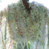 Hand Knitted long skinny Scarf with luxury yarns  - fringed chunky wrap - neck piece in white and pastels by White Raven Designs